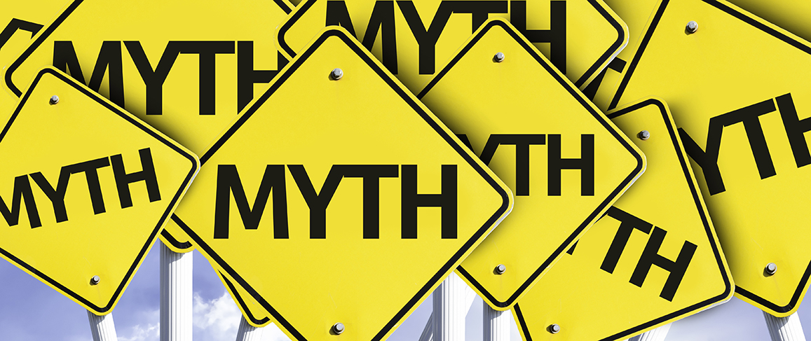 Myth written on multiple road sign