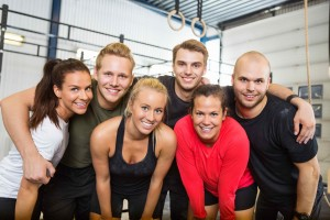 Happy People Standing Together At Cross Training Box